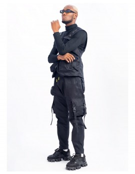 ELAN SIGNATURE -  CO-ORDERED UTILITY GILET AND CARGO PANT IN BLACK