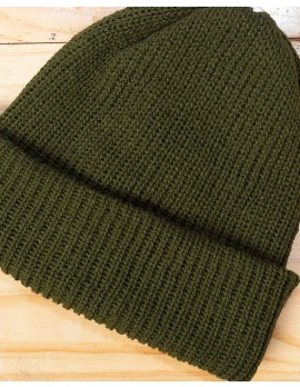 ELAN SIGNATURE - RIBBED KNIT ARMY GREEN BEANIE HAT