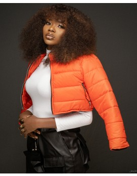 ELANWAY CROP PUFFER JACKET IN ORANGE