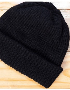 ELAN SIGNATURE - RIBBED KNIT BLACK BEANIE HAT