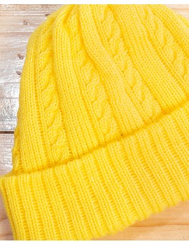ELAN SIGNATURE - RIBBED KNIT YELLOW BEANIE HAT