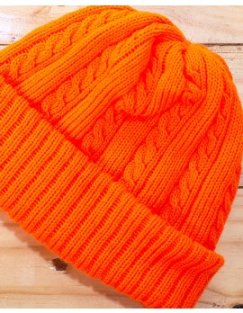 ELAN SIGNATURE - RIBBED KNIT ORANGE BEANIE HAT