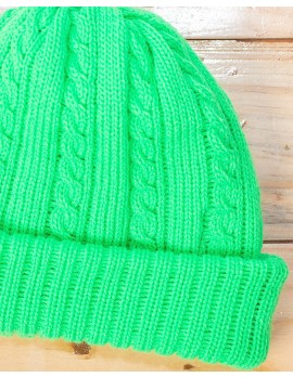 ELAN SIGNATURE - RIBBED KNIT LEMON GREEN BEANIE HAT